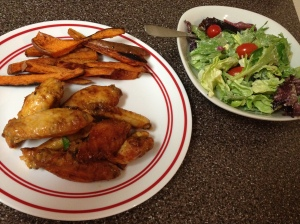 Chicken Wings with Sweet Potato Fries and Side Salad