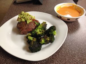 Ribeye with Roasted Broccoli and Sweet Potato Soup